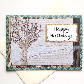 Happy Holidays Handmade Winter Scene Christmas Greeting Card - Inspired by Running - Original Pen / Pencil Art Drawing on Handmade Paper