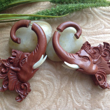 "Fake Gauge Earrings, ""Safari Ganesha"" Hand Carved, Saba Wood, Naturally Organic"