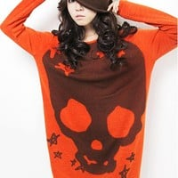 Women New fashion Long Sleeve Skull Cartoon coat T Shirts Loose Long Tunic Tops