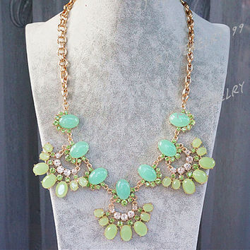 MINT Green Crystal Necklace,Beaded Necklace, Diamond Necklace, Phoenix Spirit Bib Statement Necklace, Bib Necklace,Bridesmaid Jewelry,SN1152
