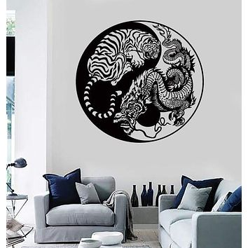 Wall Stickers Yin And Yang Dragon And Tiger Fighting Predators Meditation z2160