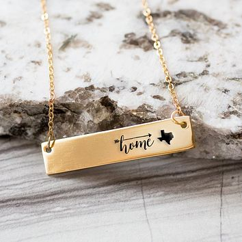 Home is Texas Gold / Silver Bar Necklace