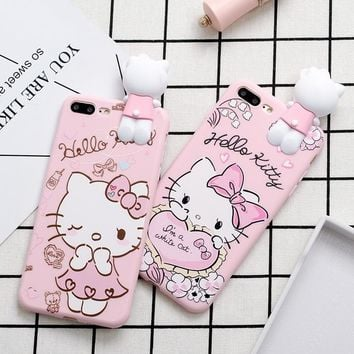 Phone Case for iPhone X 8 7 6 6s Plus 5s SE Cute Cartoon Love Hello Kitty Heart Bow Pink Soft TPU Back Cover Case for Girl Kids