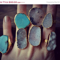 SPRING SALE Size 9 LUX Divine Druzy Stackable Gemstone Gold Ring