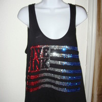 NWT Victoria's Secret Pink America Flag Bling Sequin Tank Small