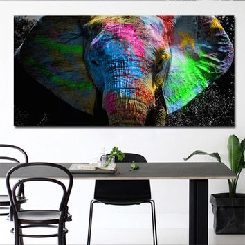 RELIABLI Wall Art Canvas Prints Posters Elephant Colorful African Animal Oil Paintings Huge Size Wall Pictures For Living Room