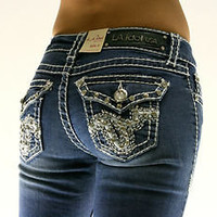 LA Idol Western Tempo Rhinestone Boot Cut Denim Jeans Sizes 0 - 15