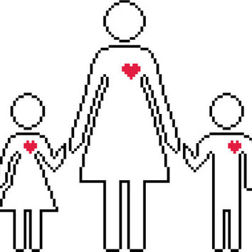Simple cross stitch silhouette of mother and children. Modern Mother's Day pattern.