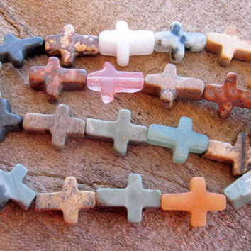 Stone Cross Beads (7) Natural Semiprecious Assorted Jasper Aventurine Rose Quartz Religious Wholesale Jewelry Supply CrazyCoolStuff