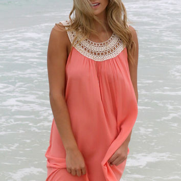 Edisto Island Coral LaceTassel Shift Dress