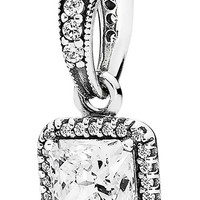Women's PANDORA 'Timeless Elegance' Cubic Zirconia Dangle Charm - Silver/ Clear