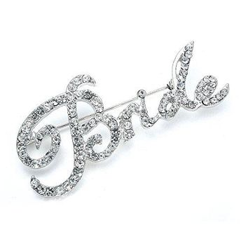 Mariell Crystal Rhinestone Bride Brooch Pin in Script Lettering  Bachelorette amp Bridal Shower Gift