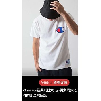 BTYE Champion logo embroidery simple fashion atmospheric cotton round collar lovers series short-sleeved T shirt