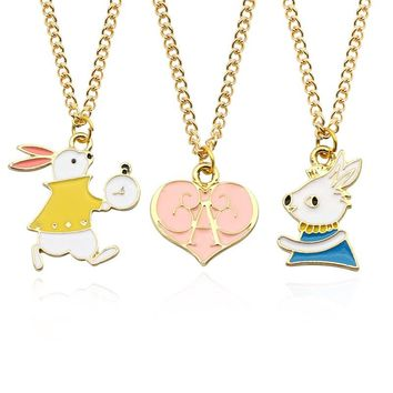 Creative Cute Alice Rabbit Love Pendant Necklace Personality Colorful Cartoon Animal Jewelry Dripping Pendants Gift Ornaments