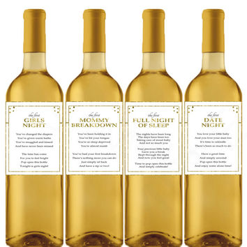 New Mom Wine Labels Baby Shower Milestone Wine Labels Gift for New Mom Faux Gold Wine Gift Ideas Wine Gift Basket Printable Download MOM1