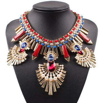 Statement Necklace Gold Color Big Alloy Luxury Chunky Crystal Pearl Pendant