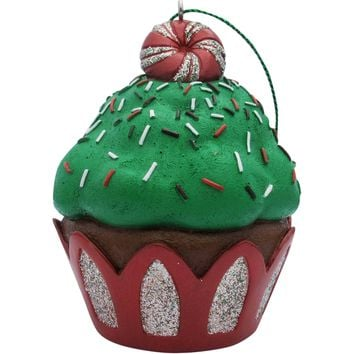 Green Peppermint Top Cupcake Christmas Tree Ornament