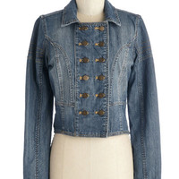 ModCloth Military Short Length Long Sleeve Double Breasted Denim on Earth Jacket