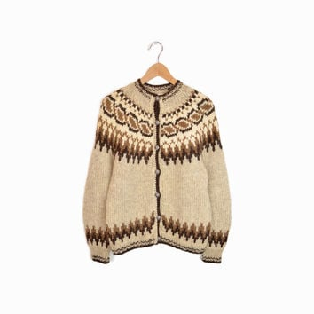 Vintage Nordic Wool Cardigan in Brown & Tan - Fair Isle Sweater - women's large