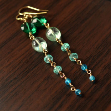 Long Aqua Earrings, Gemstone, Emerald Green Quartz, Mint Fluorite, Blue Apatite Stones, Wire Wrapped, Gold Jewelry, Free Shipping