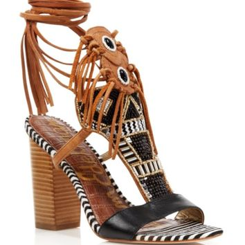Sam Edelman Sandals - Yates Tribal Beaded Wraparound High Heel | Bloomingdales's