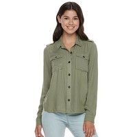 Juniors' Mudd Twill Utility Shirt