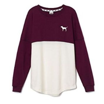 Victorias Secret 'Pink Nation' Varsity Crew Pullover Maroon and White Sweater Size Small'