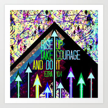 RISE UP TAKE COURAGE AND DO IT Colorful Geometric Floral Abstract Painting Christian Bible Scripture Art Print by The Faithful Canvas