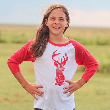 Youth Christmas Reindeer Raglan