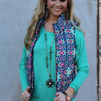 Looking Through the Kaleidoscope Turquoise and Pink Puffer Vest
