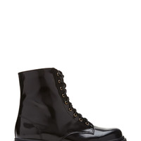 FOREVER 21 Faux Patent Leather Combat Boots Black