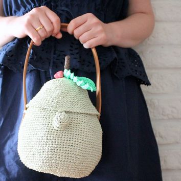 Raffia bag Crochet purse Basket bag Small tote bags Bucket bag Summer purses Pear bag Summer handbags Green handbags Fruit bag