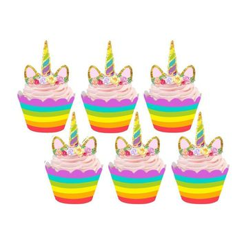 24pcs Birthday Decoration Unicorn Party (12pcs Cupcake Wrappers +12pcs Cake Topper) for Baby Shower Party Cake Decor(welcome par