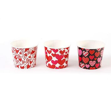 64 ounce Valentine Paper Popcorn Bucket in 3 Assorted Designs  24 units