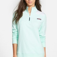 Women's Vineyard Vines 'Shep' Oxford Stripe Quarter Zip Pullover,