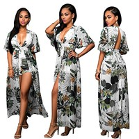 Joseph Costume Women's Floral Chiffon Maxi Dress Overlay Rompers Playsuits