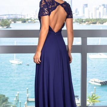 Navy Crochet Top Maxi Dress with Open Back and Sleeves