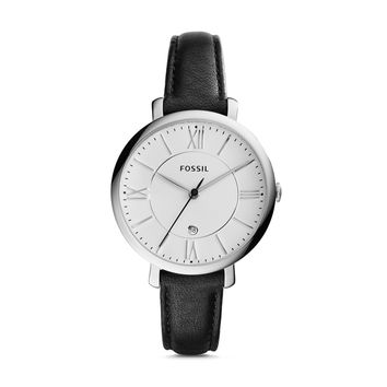 Jacqueline Three-Hand Date Black Leather Watch