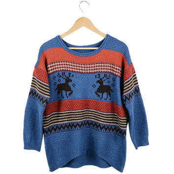 New Fashion Women's Loose Cardigan Sweaters Jumpers Top Deer Pattern Pullover Knitwear