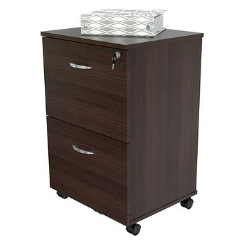 2-Drawer Wood Mobile, Portable Filing Cabinet with Lock