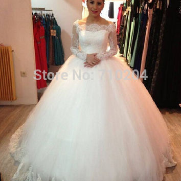 Vestido De Noiva Vintage Long Sleeve Lace Appliqued Fluffy Ball Gown Petticoat Wedding Dress