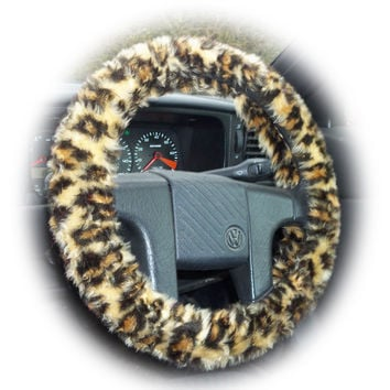 Brown Leopard fuzzy steering wheel cover car truck van suv sleeve cheetah animal print faux furry fur fluffy wild cat pattern rosettes spots
