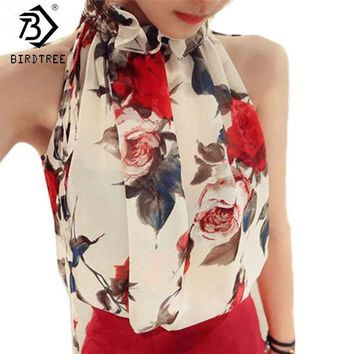 Women Sleeveless Chiffon Floral Print Blouses Ruffles Turtleneck Tops Shirt Vest Design Loose Brand T57334