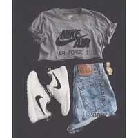 Nike Air Force Grey Crop Shirt