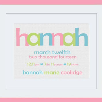 Nursery Art Baby Girl Birth Stats & Name Print: Custom Personalized 8x10 or 11x14 Poster in Aqua, Lime Green, Cotton Pink
