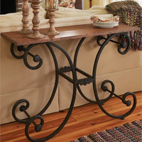 Iron Table with Wood Shelf top