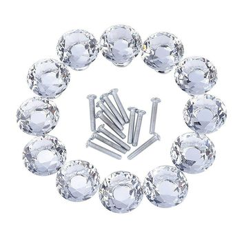 12 Pieces Diamond Shape Crystal Glass Cabinet Knobs for Cupboard and Drawer, Clear
