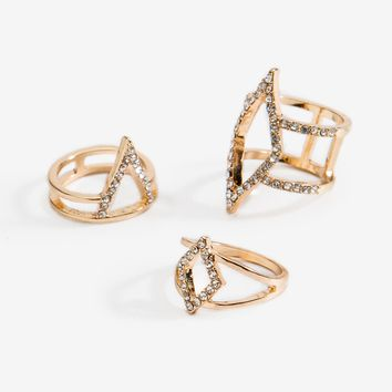 Bara Caged 3pc Ring Set