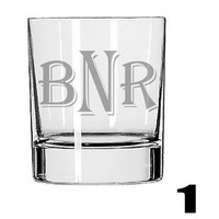 Personalized Rocks Glass Pair - Deep Etched Straight Sided Rocks Glass, Whiskey Glass, Initialed/Monogrammed Glass