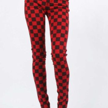 Tripp NYC Skinny T-Jean Pants in Red/Black Checkered